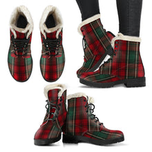 Load image into Gallery viewer, Green Plaid Faux Fur Boots