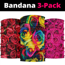 Load image into Gallery viewer, Roses (Red, Pink, Rainbow) - Bandana 3 Pack