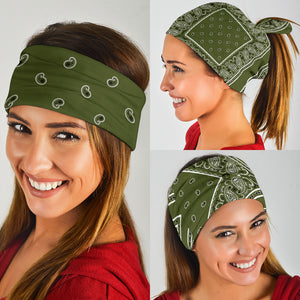 Army Green Bandana Headbands 3 Pack