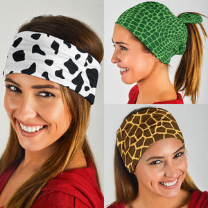 Animal Print Pop Art (Cow, Croc, Giraffe) - Bandana 3 Pack