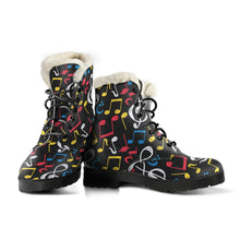 Load image into Gallery viewer, Blue, Red Whiten and Yellow Music Notes Faux Fur Leather Boots Winter Shoes