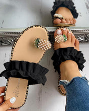 Load image into Gallery viewer, Women Slipper Pineapple Pearl Flat Toe Bohemian Casual Beach Sandals Ladies Shoes 2020