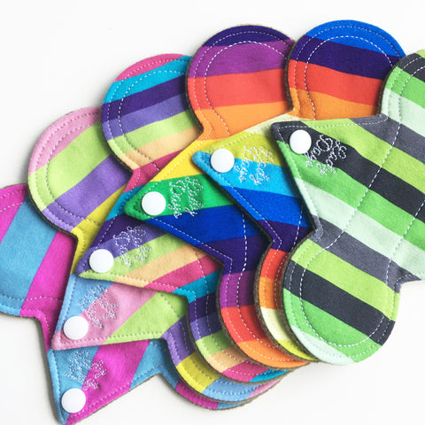 "7"" Cloth Panty Liner Set of 6 - Stripes - Lady Days Cloth Pads"