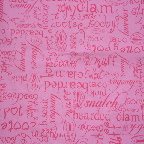 Custom Order - ADULT PRINT PINK VAGINA NAMES - Lady Days Cloth Pads