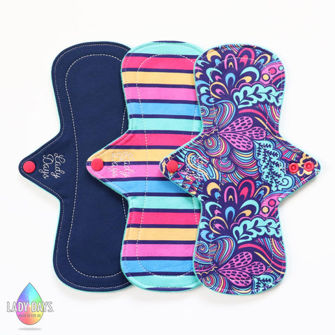 "LADY DAYS 10"" HEAVY ABSORBENCY CLOTH PAD SET OF 3 WISPS WORLD THEME"
