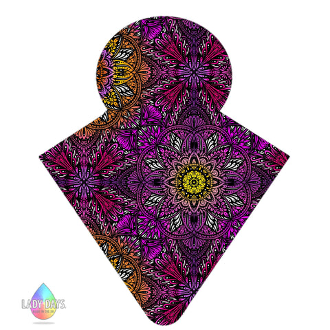 LADY DAYS REUSABLE CLOTH MENSTRUAL PAD CUSTOM MADE IN DARK SUNSET MANDALA PRINT