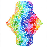 Custom Order - Rainbow Drops on White - Lady Days Cloth Pads