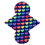 Custom Order - Rainbow Hearts Diagonal - Lady Days Cloth Pads