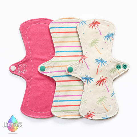 "lady days 9"" regular absobency cloth pads set of 3 palm tree mix designs"