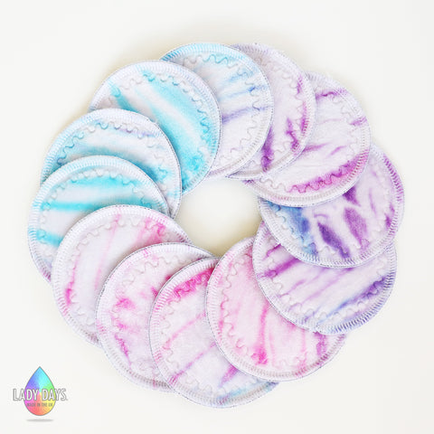 Hand Dyed Bamboo Velour Reusable Breast Pads