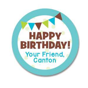Teal & Brown Birthday Stickers