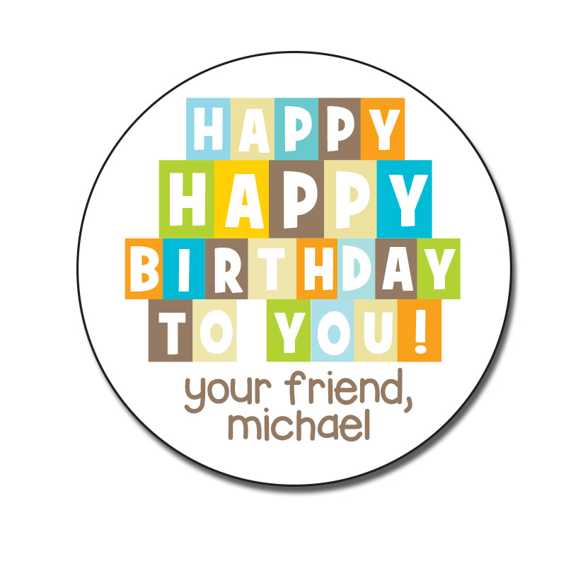 Birthday Block Stickers
