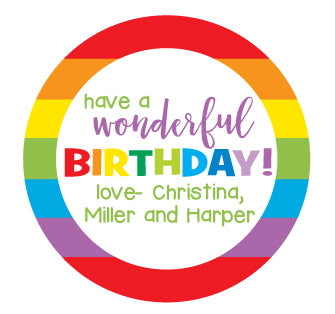Rainbow Birthday Stickers