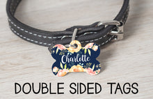 Load image into Gallery viewer, Navy Floral Dog Tag