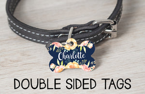 Navy Floral Dog Tag