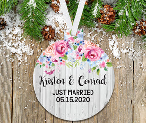 First Christmas Married Floral and Faux Wood Ornament