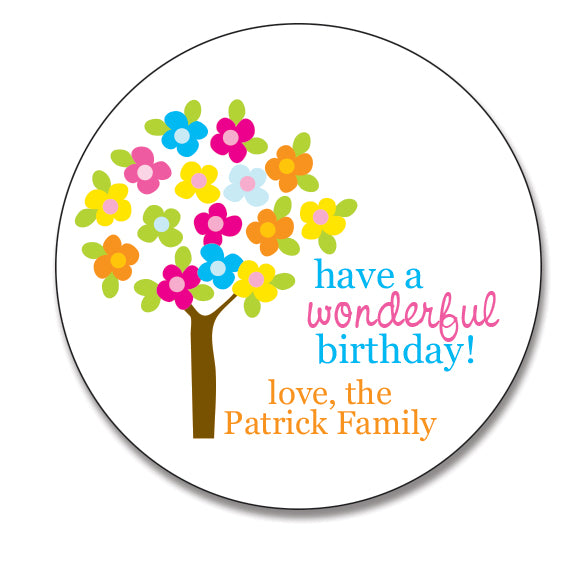 Flower Tree Birthday Sticker