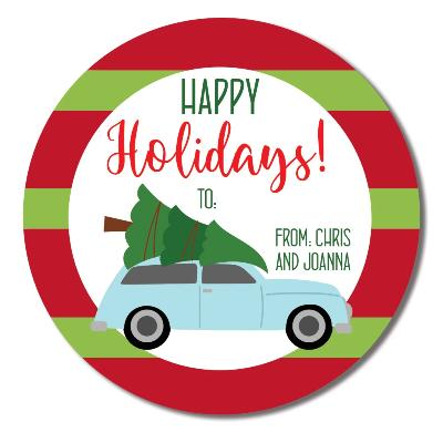 Vintage Blue Car Holiday Label