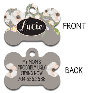 Gray with White Flowers Tag