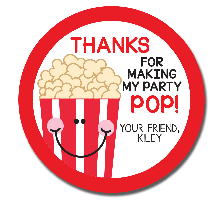 Popcorn Birthday Sticker