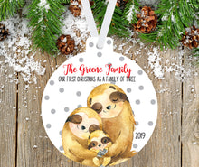 Load image into Gallery viewer, Sloth Christmas Ornament for a Family of three
