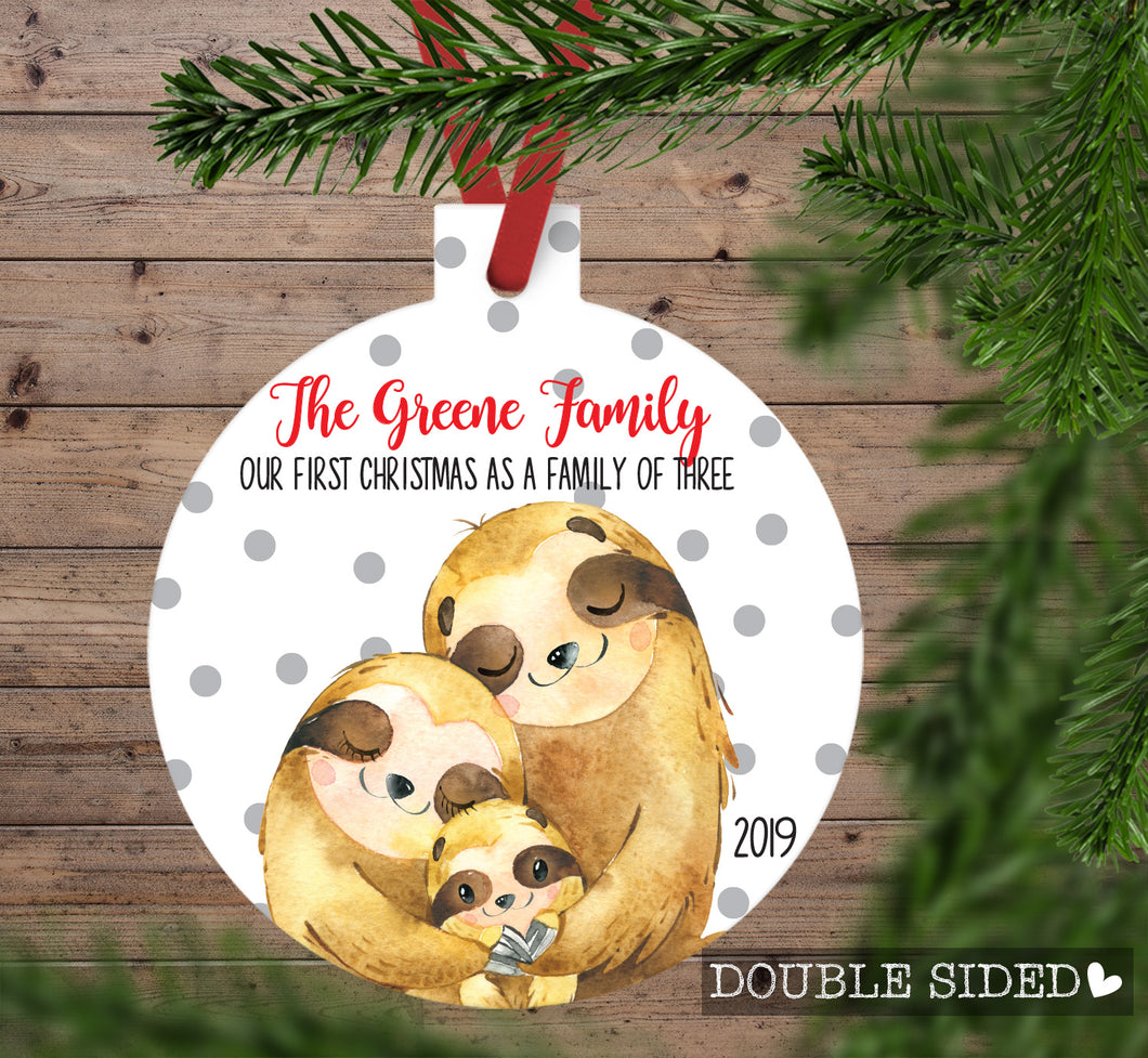 Sloth Christmas Ornament for a Family of three