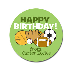Sports Happy Birthday Sticker