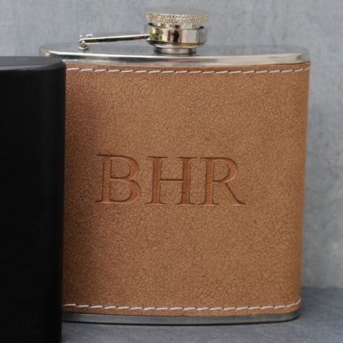 Personalized Tan Leather Flask