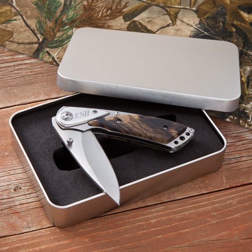 Engraved Camouflage Lock-Back Knife