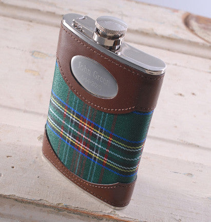 Personalized Green Plaid Flask