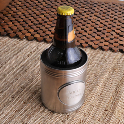 Brushed Can Cooler with Personalized Medallion