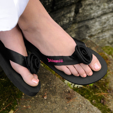 Personalized Black Flip-flops