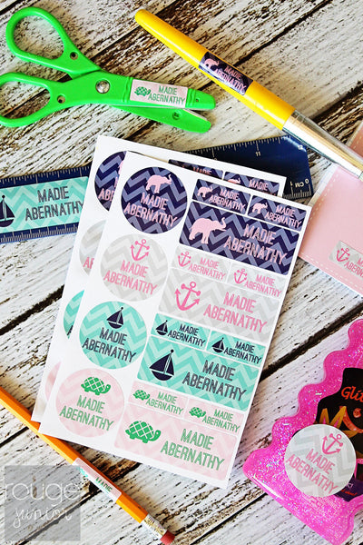 Pastel Chevron Waterproof Label Combo Set