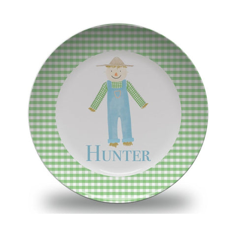 Boys Personalized Thanksgiving Scarecrow Plate