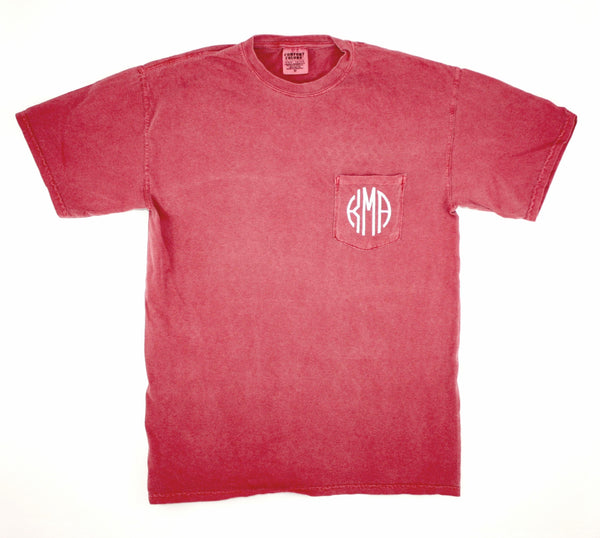 Monogrammed Comfort Colors Pocket T-shirt