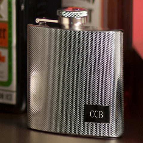 Monogrammed Textured Stainless Steel Flask
