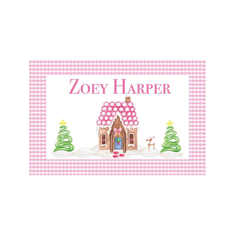 Personalized Gingerbread House Pink Reversible Placemat