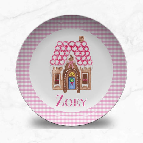 Personalized Gingerbread House Pink Plate