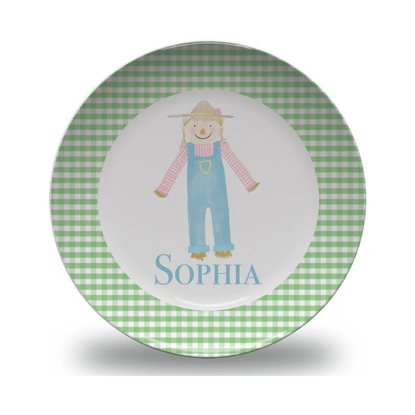 Girls Personalized Thanksgiving Scarecrow Plate