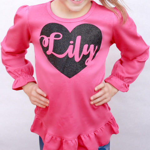 Girls Glitter Valentine Shirt