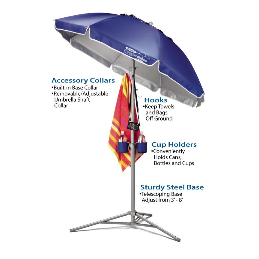 Wondershade Ultimate Portable Sun Shade Umbrella, Lightweight Adjustable Instant Sun Protection - Red