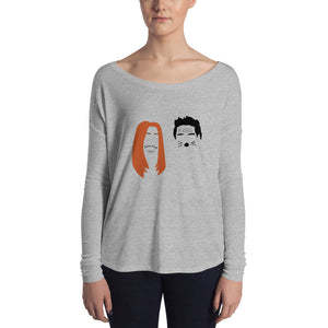Ross and Rachel in Las Vegas Minimalist Faces Ladies' Long Sleeve Tee