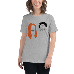 Ross and Rachel in Las Vegas Minimalist Faces Women's Relaxed T-Shirt