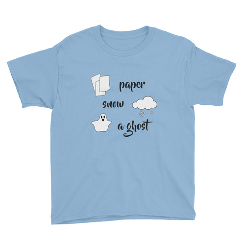 Paper Snow A Ghost! Youth Short Sleeve T-Shirt