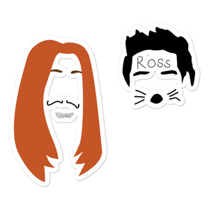 Ross and Rachel in Las Vegas Minimalist Faces Bubble-free stickers