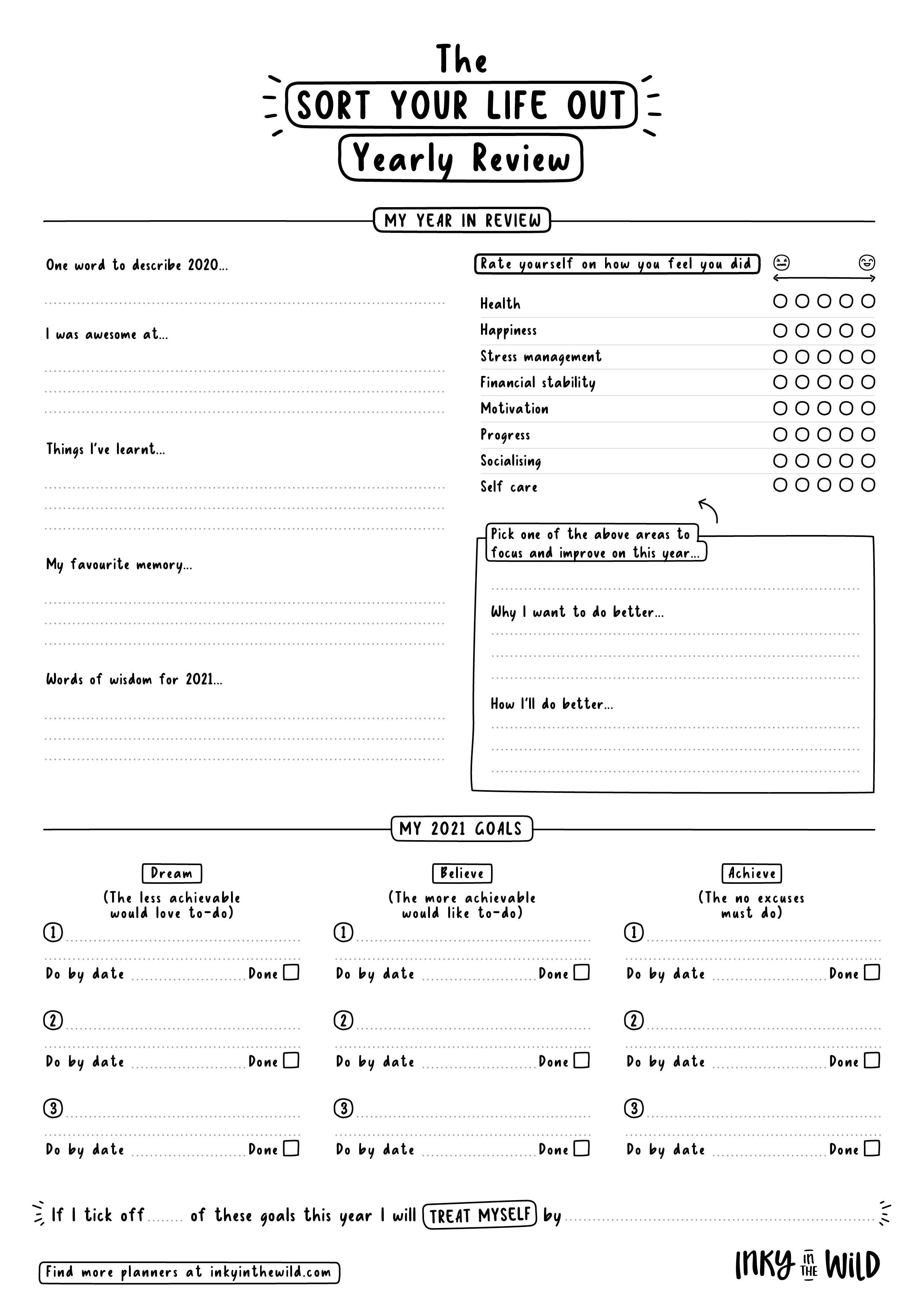 2021 Yearly Review Black and White Printable