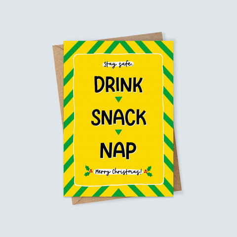 Drink Snack Nap Christmas Card