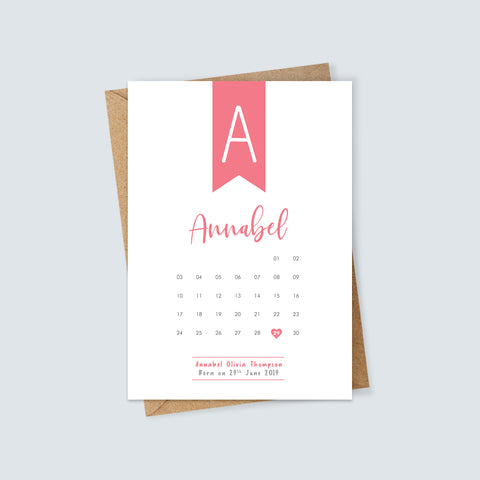 Personalised New Baby Birth Date Calendar Card