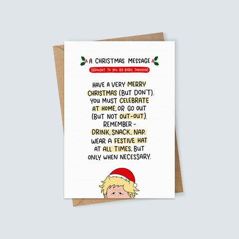 Boris Johnson Christmas Message Card