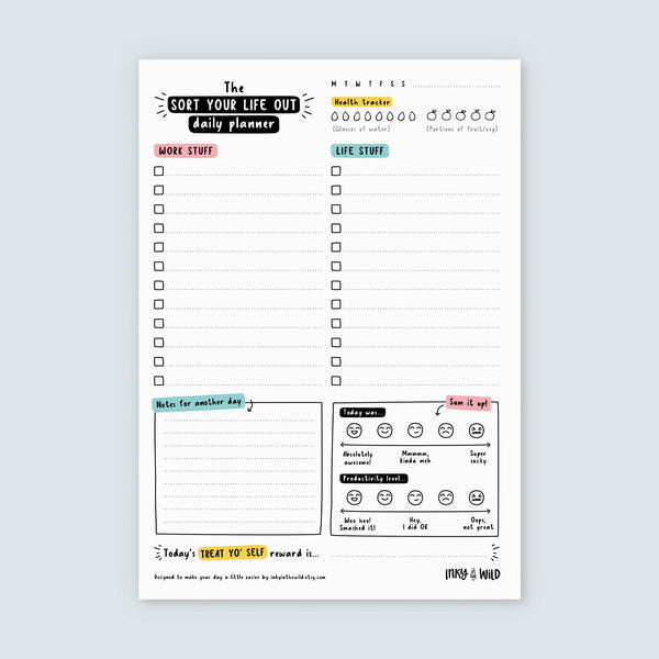 SECONDS SALE A5 Sort Your Life Out Daily Planner Notepad - MINOR DEFECTS